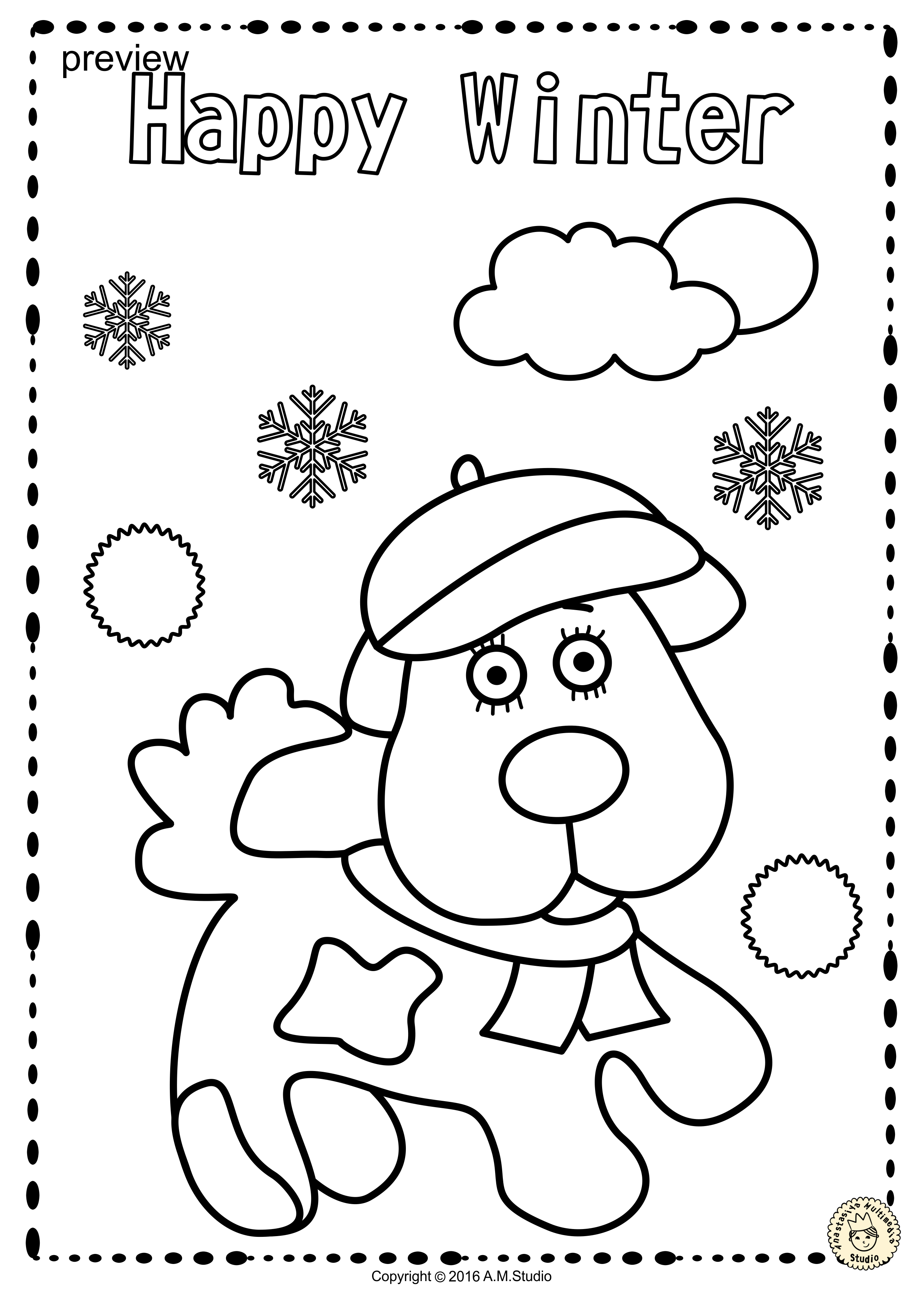 This Coloring Set Includes 25 Winter Themed Coloring Pages For Kids