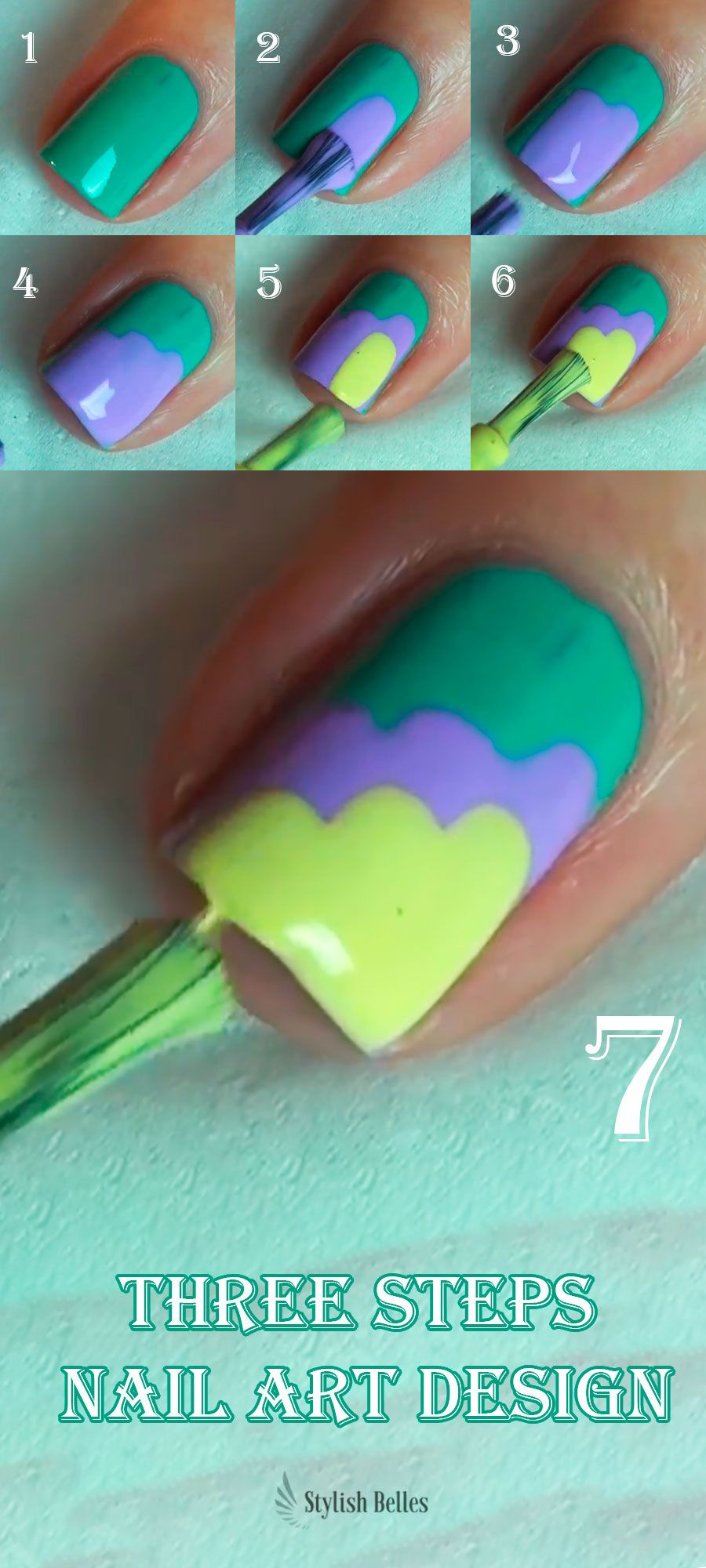 Three steps Nail Art Design nails nailartdesign