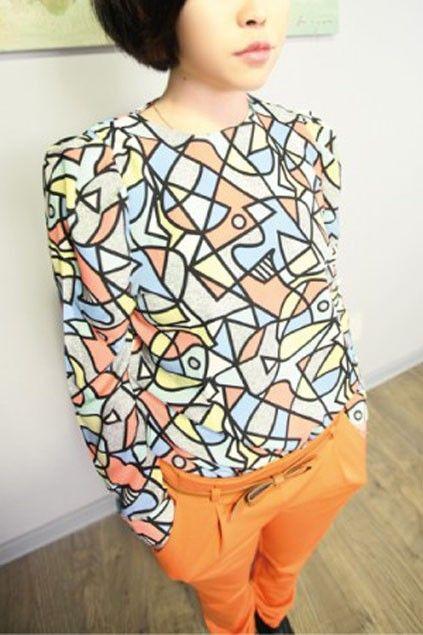 Vintage Geometrical Multicolor Printing Long Sleeve Blouse