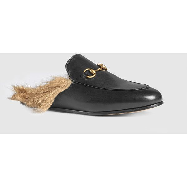 Gucci Leather Slipper (6,310 CNY) ❤ liked on Polyvore featuring shoes and slippers