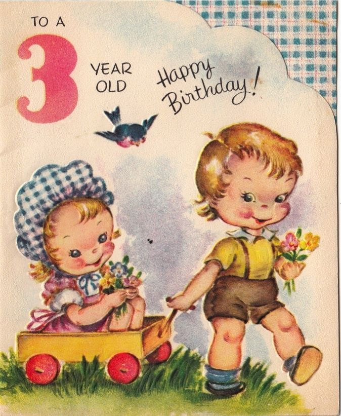 Vintage Greeting Card Children Boy Girl Age 3 Three Year Old L975