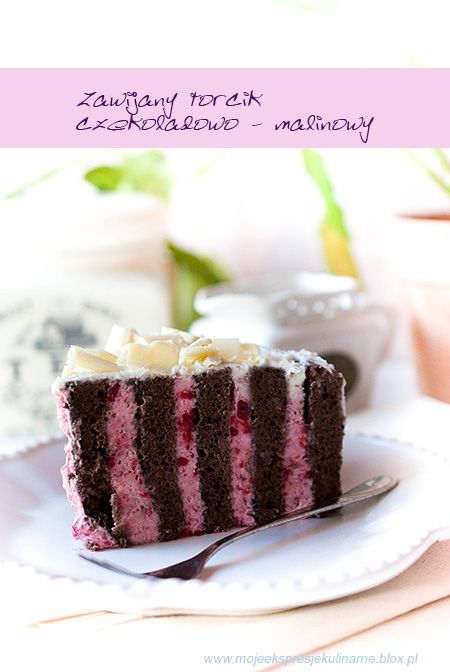 Chocolate Roll cake with Raspberry Cream | Zawijany tort czekoladowo -malinowy (in Polish)