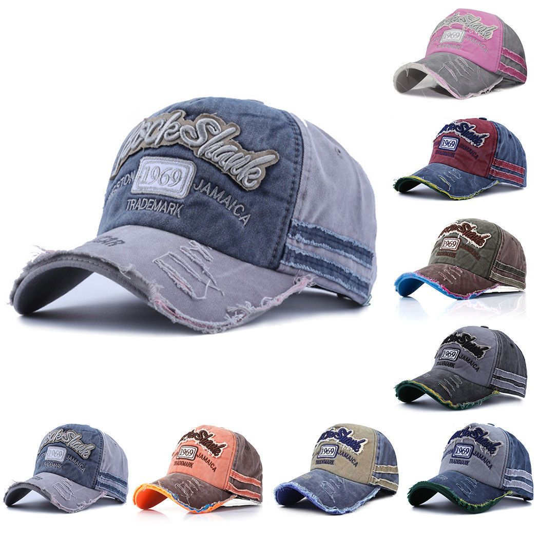 Men Women Washed Baseball Cap Hip-Hop Snapback Denim Hat Adjustable Trucker Hats