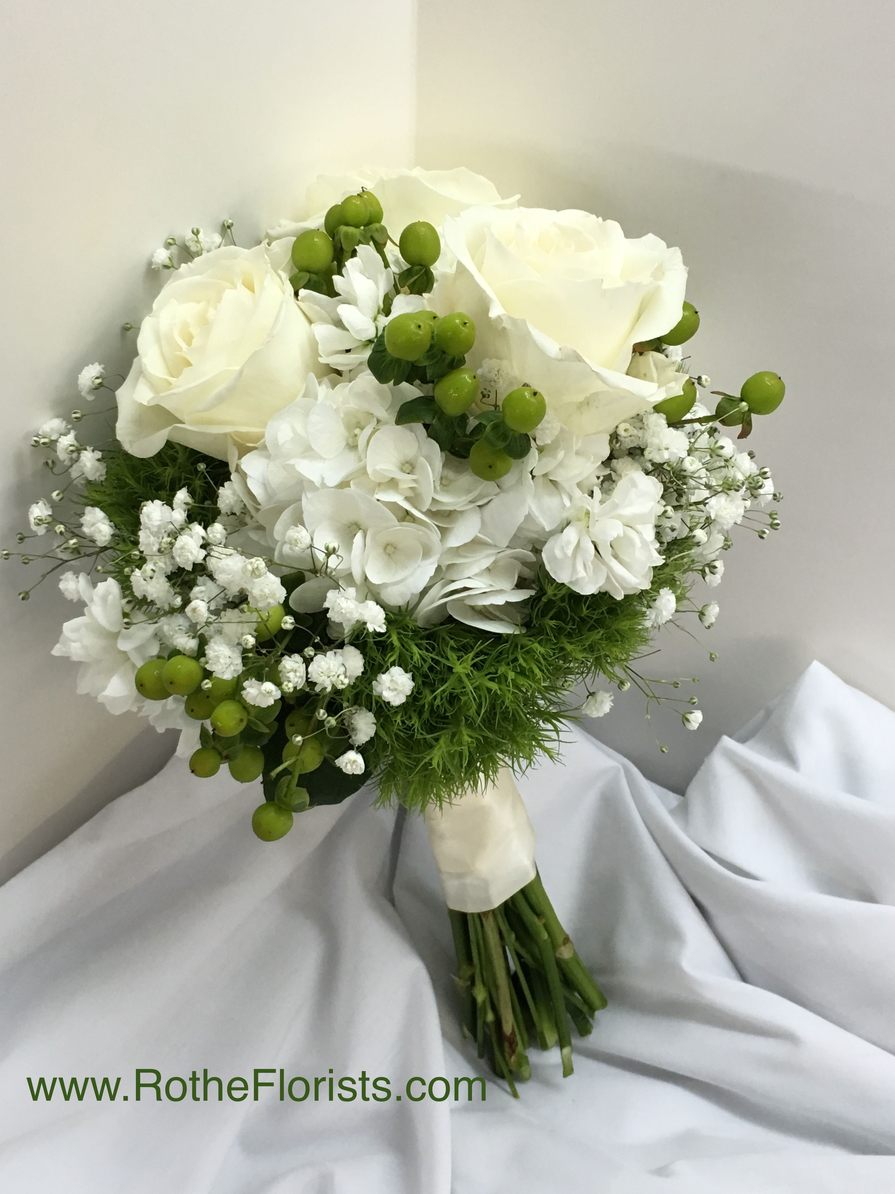 White Roses, Hydrangea, Baby's Breath, Green Hypericum, Tree