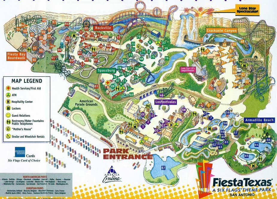 san antonio six flags map Fiesta Texas San Antonio Six Flags Fiesta Texas 2001 Map San san antonio six flags map