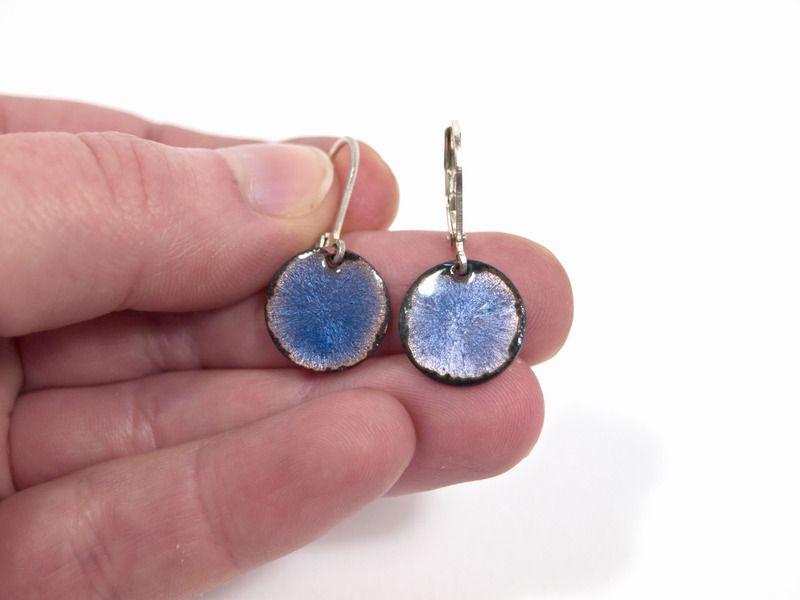 Ohrringe Kupfer Emaille blau von Emaillekönigin- handgefertigter ...