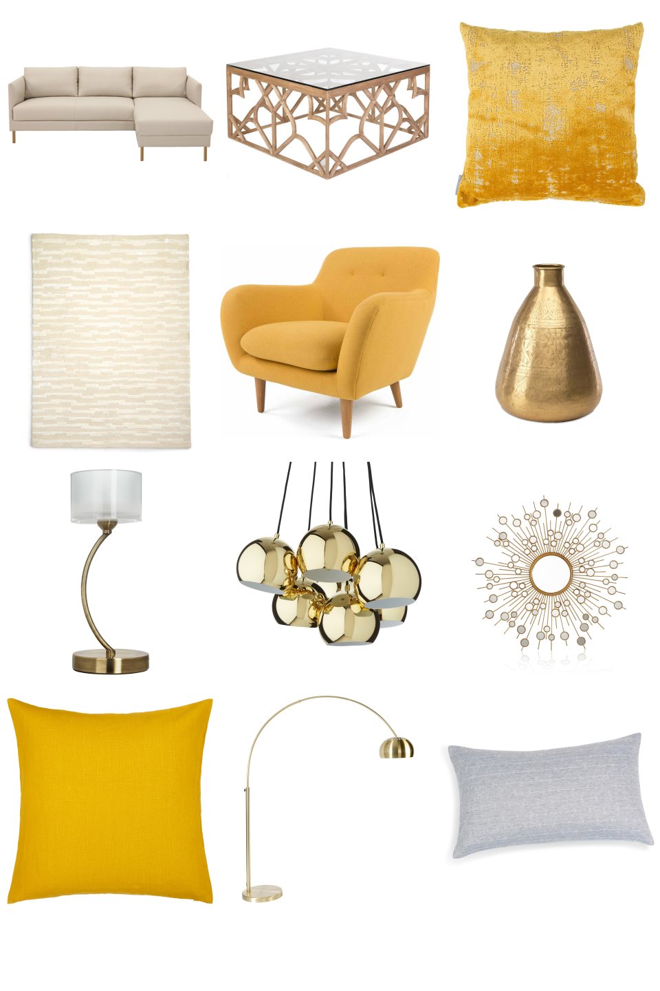 Opulent Yellow And Gold Living Room Inspiration Board. Luxurious Yellow And  Golden Hues   With