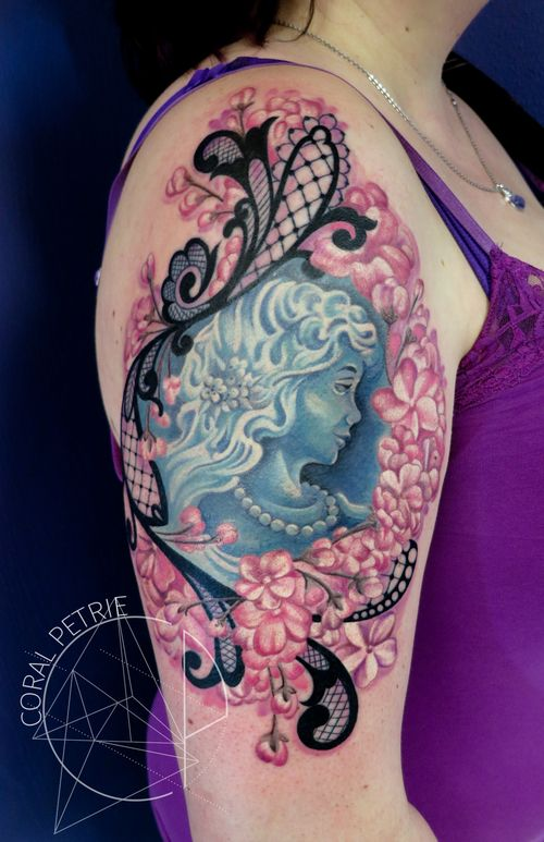 lace and cherry blossom frame around cameo tattoo by coral petrie ...