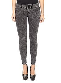 HOTTOPIC.COM - LOVEsick Black Acid Wash Super Skinny Jeans