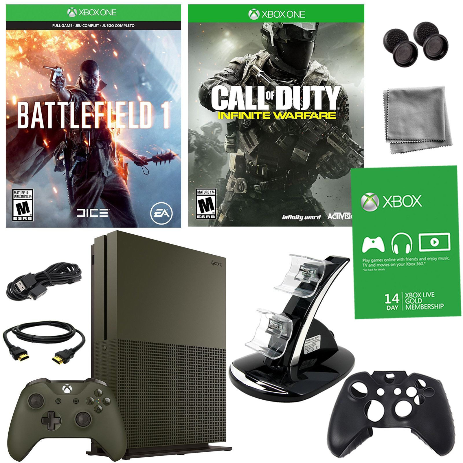 Microsoft Xbox One S 1tb Battlefield 1 Bundle With Cod Infinite