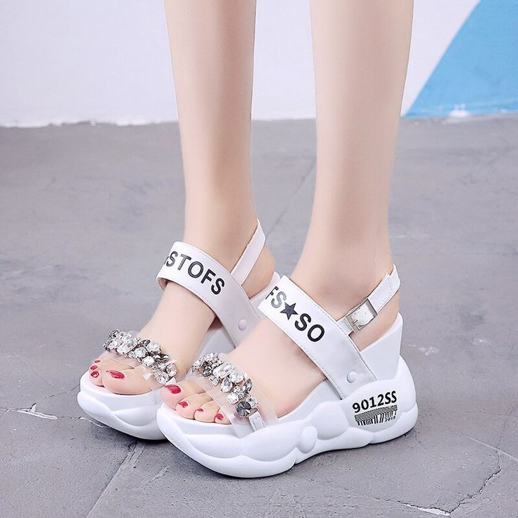 Lucyever Women Crystal Sandals 2019 Summer Fashion Platform Wedges Thick Bottom  Lucyever Women Crystal Sandals 2019 Summer Fashion Platform Wedges Thick Bottom