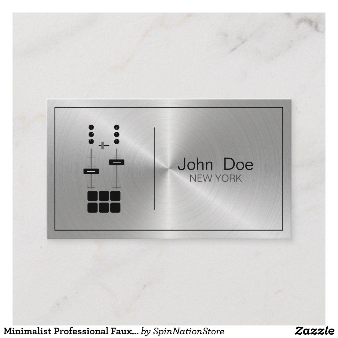 Minimalist Professional Faux Metallic DJ Business Card ...