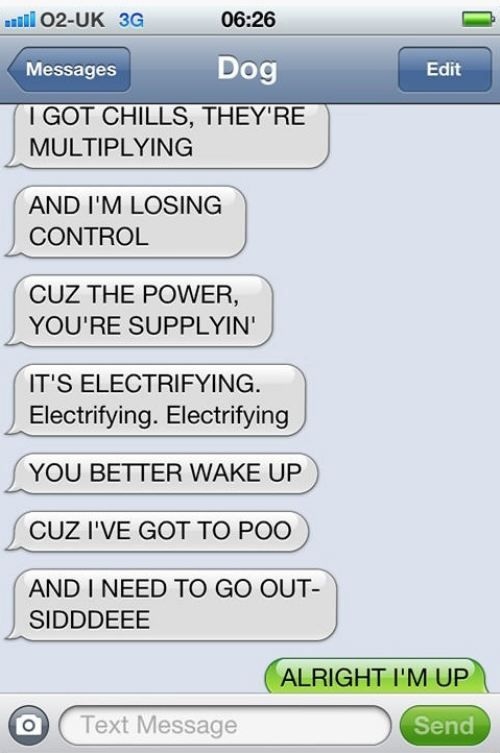 Wake up text messages