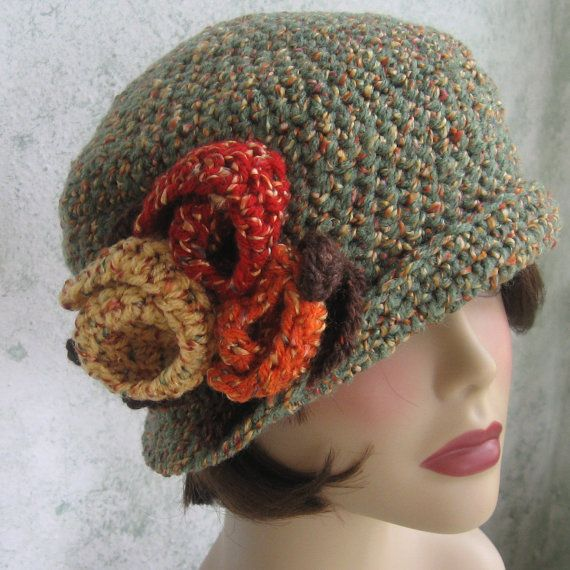 Downton Abbey Knitting Patterns Free : Crochet Pattern Womens Flapper Hat Downton Abbey Style With Large Flower Trim...