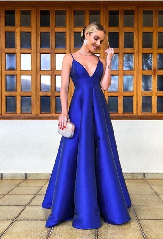 2fa9ca5950384 Simple Long Royal Blue Satin Empire Evening Gowns V-neck Prom Dresses 2019  in 2019 | Sexy Prom Dress | Prom dresses, Party gowns, Dresses
