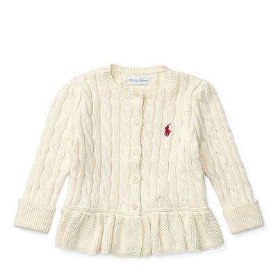 7023c0585 Sweaters 147216  Ralph Lauren Baby Girl S Cable Cotton Peplum ...