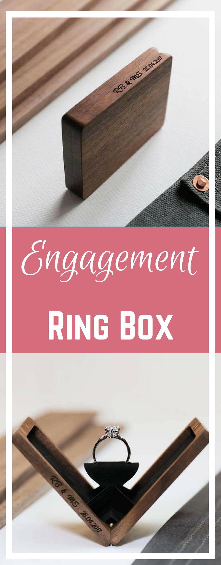 Thin engagement ring box, wedding ring box, anniversary gift, wooden ...