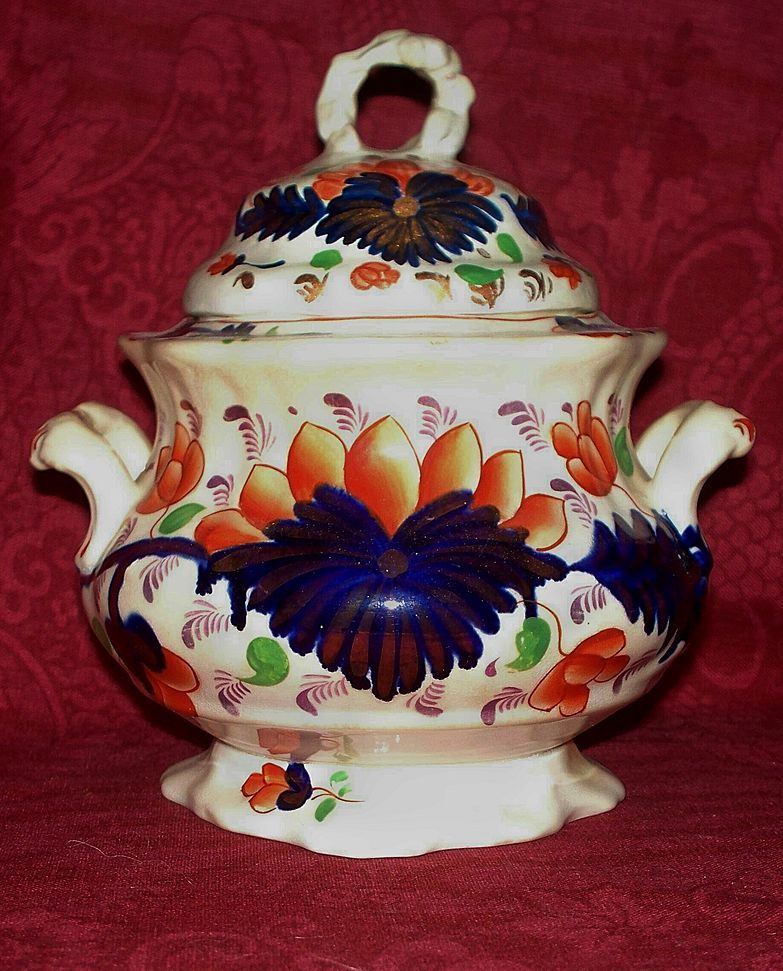 "Antique Gaudy Welsh ""Grape"" Pattern Sugar Bowl. ca.1850"
