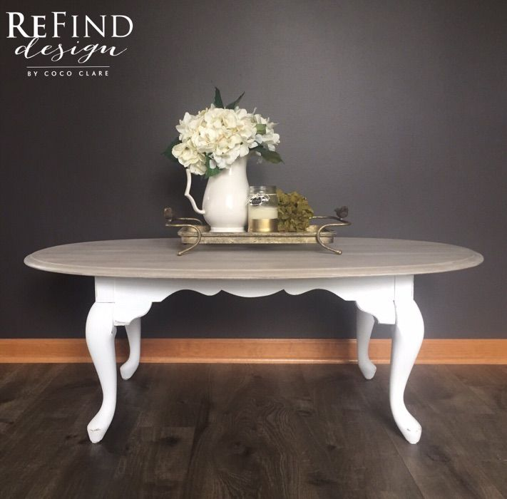 Custom Redesigned Queen Anne Coffee Table Weathered Gray Top With Annie Sloan Pure White Base Gi Painted Coffee Tables Coffee Table Redo Coffee Table Makeover