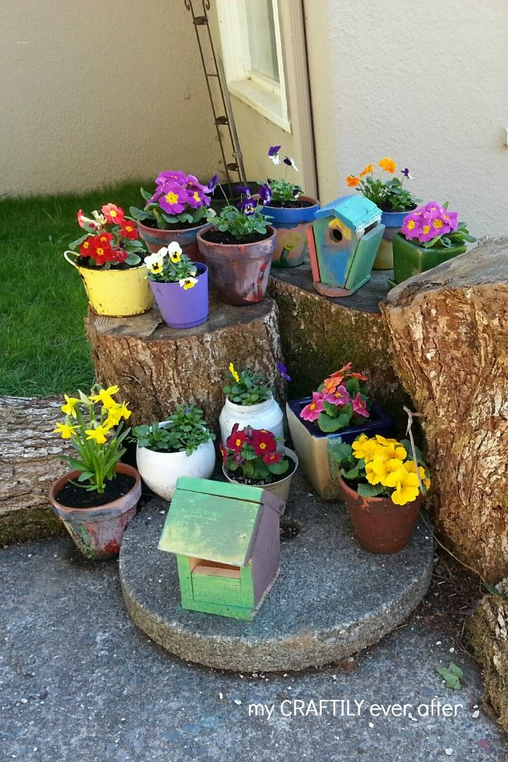 colorful flower garden with tree stumps