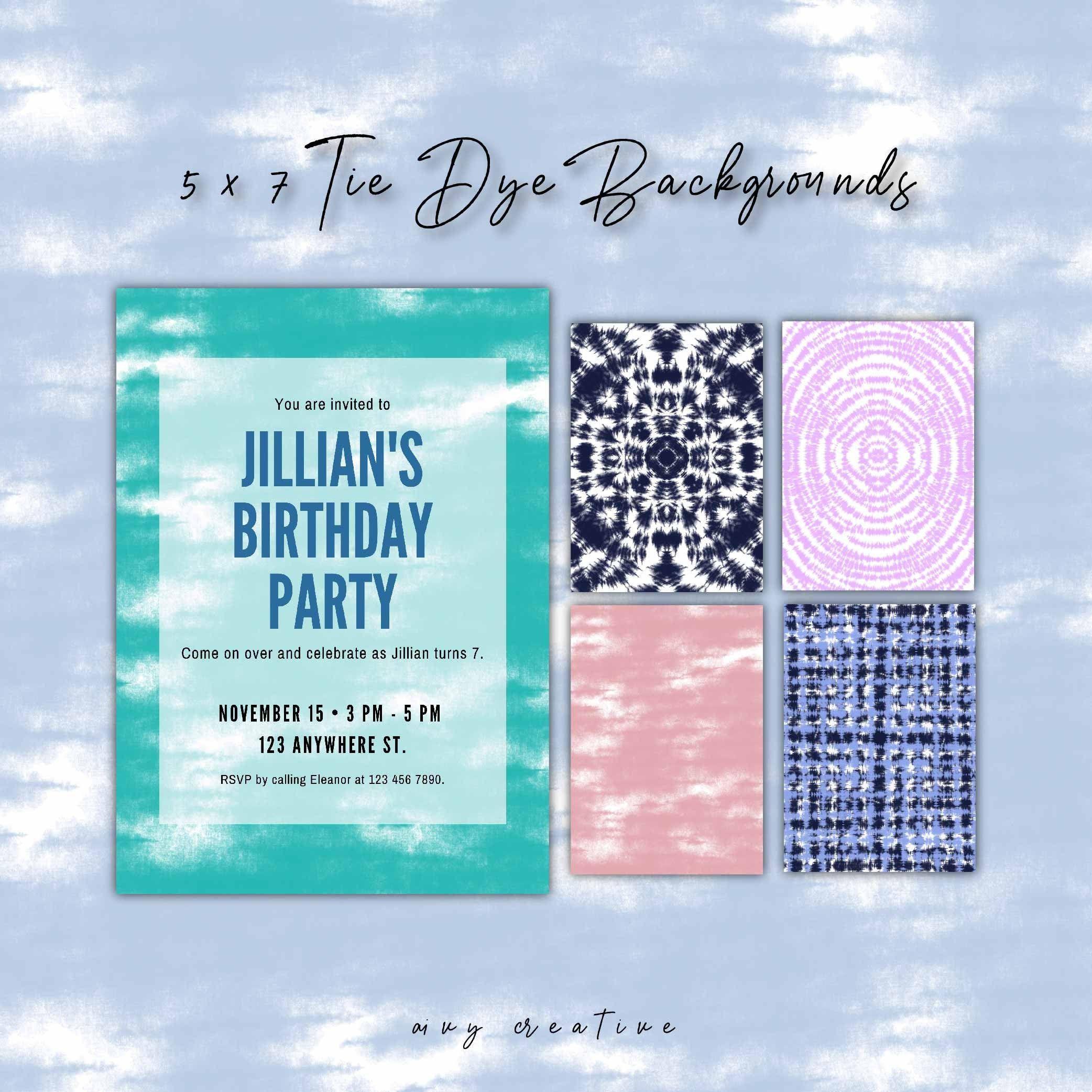 14 Colorful 5 X 7 Tie Dye Digital Background In Jpeg Files Invitation Birthday Marketing Social Media Commercial Use In 2020 Birthday Invitations Invitations Wedding Card Templates