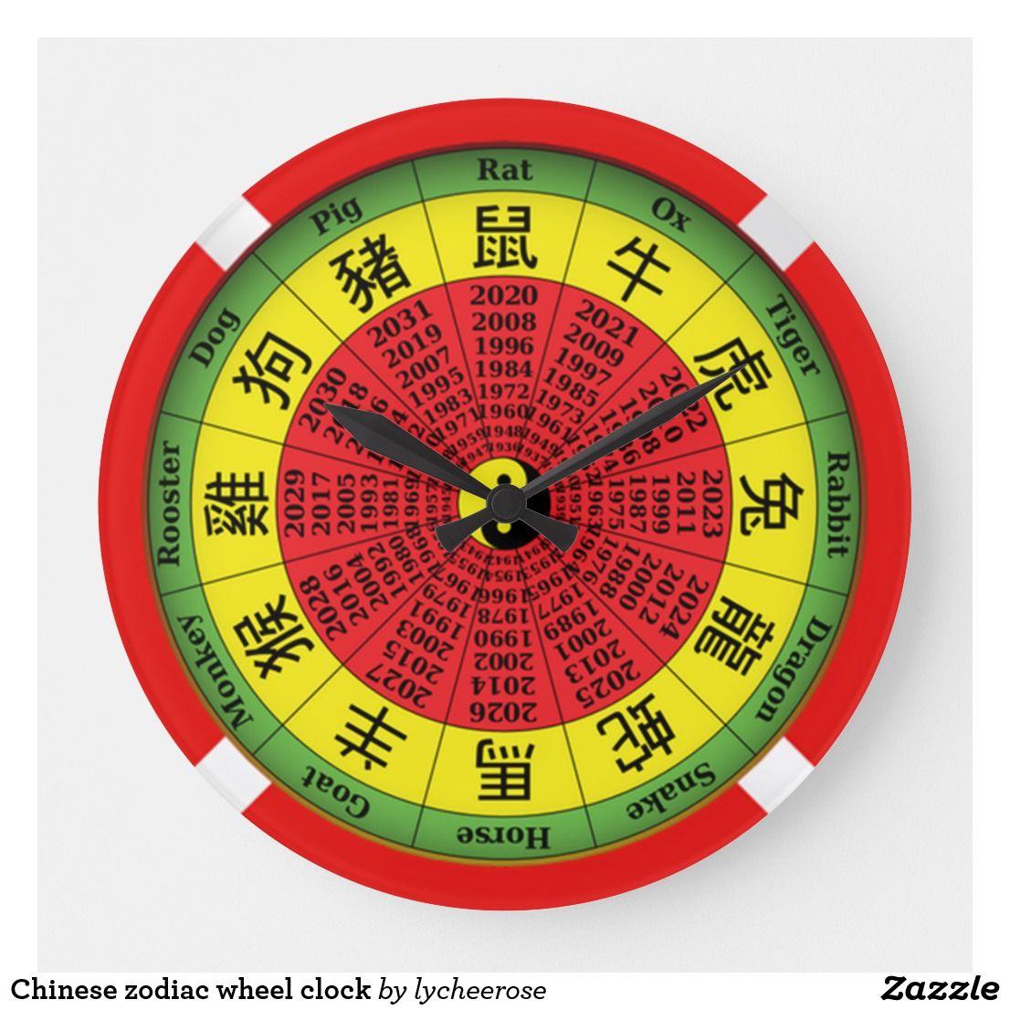 c4cd47e1e Chinese zodiac wheel clock | Zazzle.com | lychee rose | Zodiac wheel ...