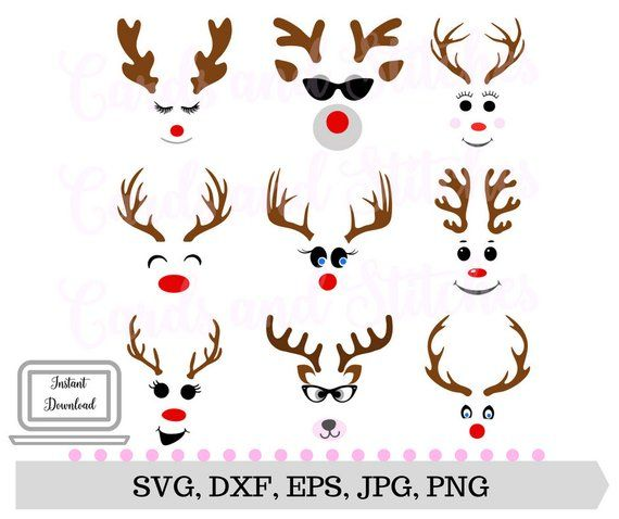 Reindeer Faces Svg Christmas Svg Reindeer Clipart Svg Etsy In 2020 Christmas Crafts To Make Scarecrow Face Christmas Svg