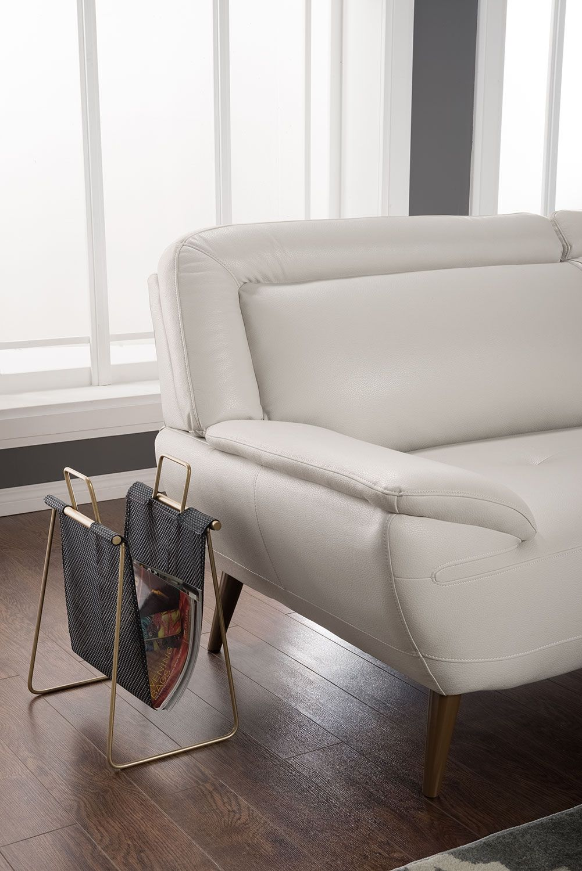 Roxy Leather Look Fabric Studio Size Sofa Beige