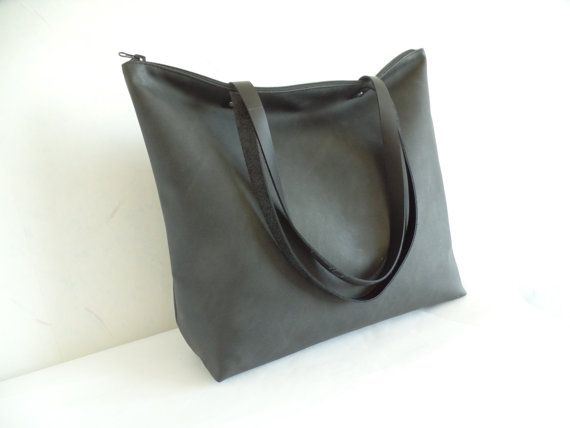 Large vegan leather zipper tote bag Black leather by allbyFEDI