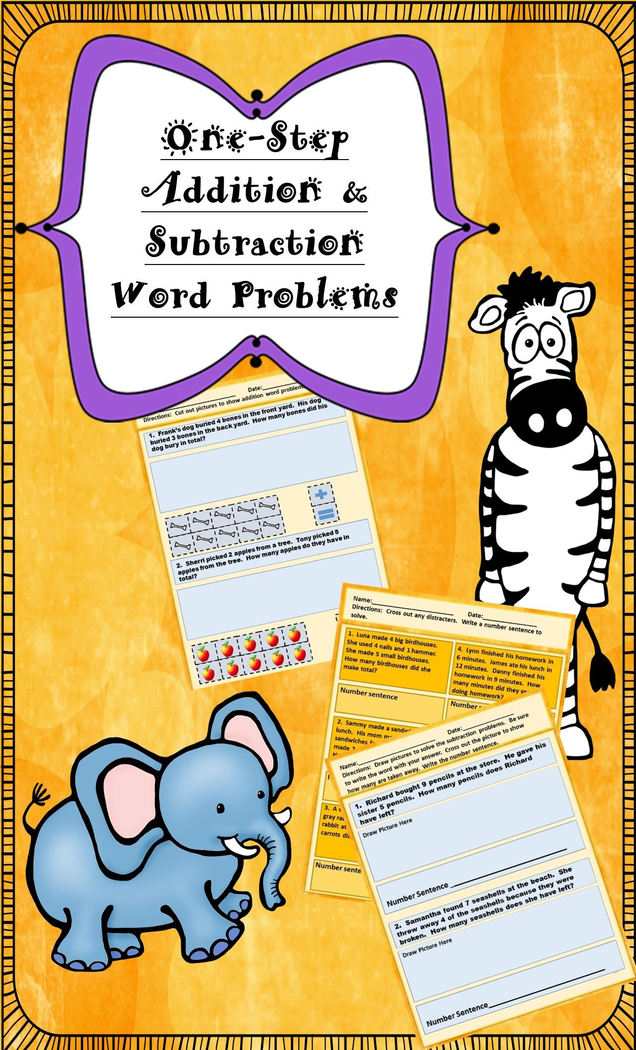 250 One-Step Addition Word Problems for Grades K-1st