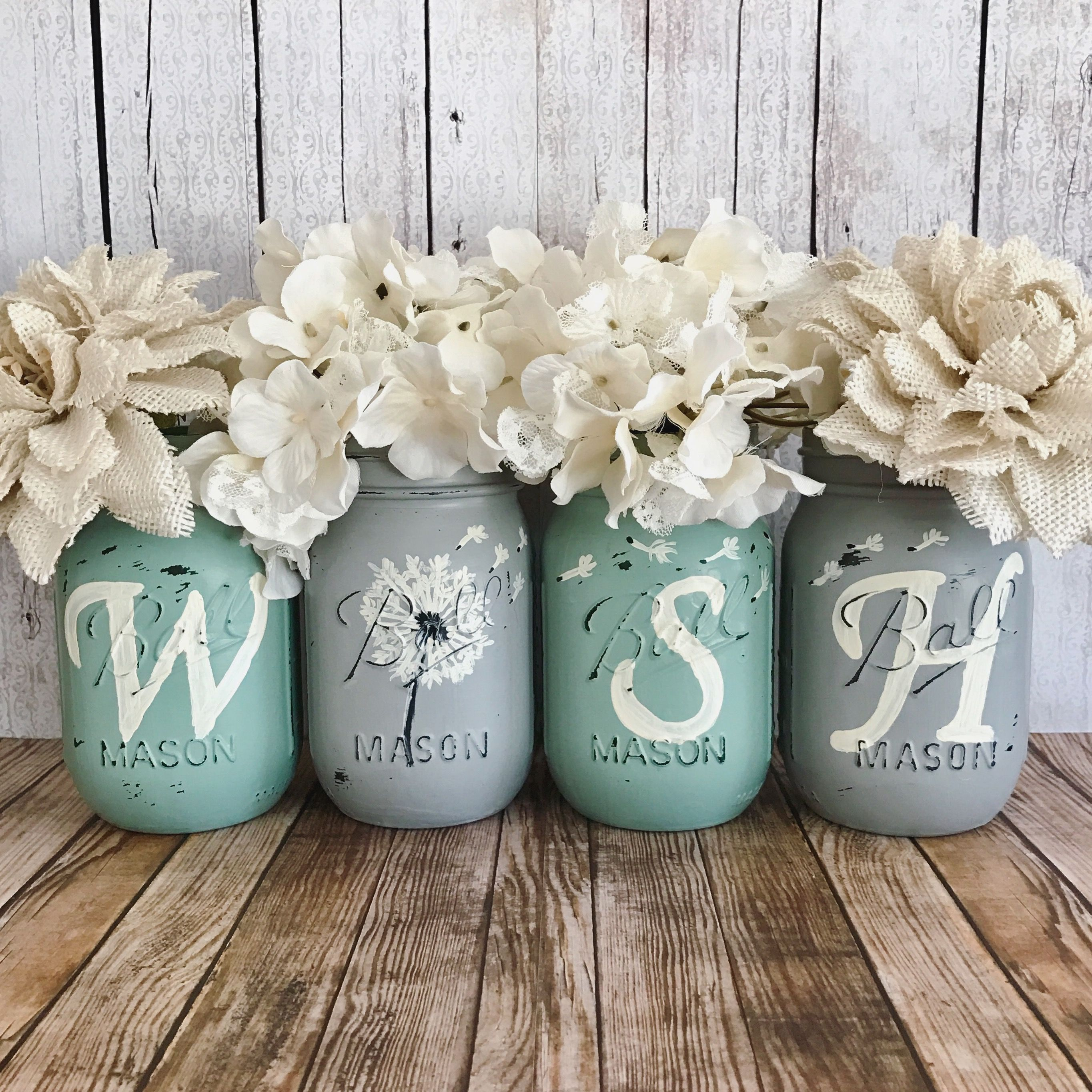 Dandelion WISH Mason jar set | rustic home decor | farmhouse decor | mint  and grey
