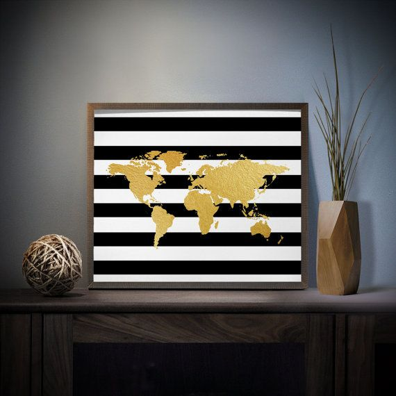 Striped world map faux gold foil art print 4 x 6 5 x 7 silver foil striped world map faux gold foil art print 4 x 5 x silver foil world map decor travel decor black and white stripes office decor gumiabroncs Image collections