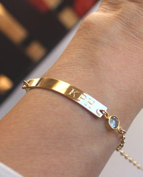 Wedding Date Gold Bar Engraved Bracelet Birthstone Von Lilladesigns