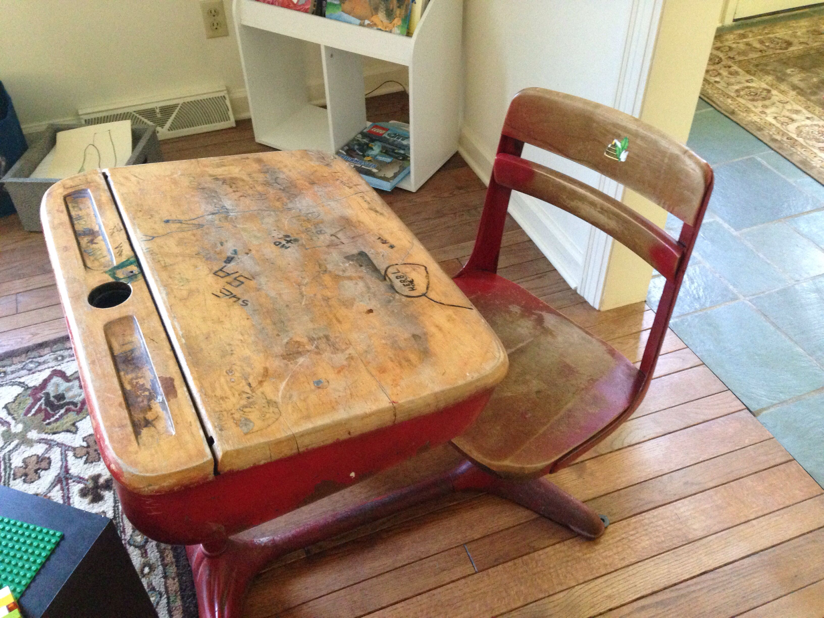 Antique children\'s school desk great for kids to use as a coloring ...