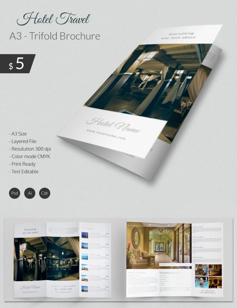 The Fascinating Excellent Hotel Travel A3 Tri Fold Brochure Template Intended For H Free Brochure Template Travel Brochure Template Trifold Brochure Template