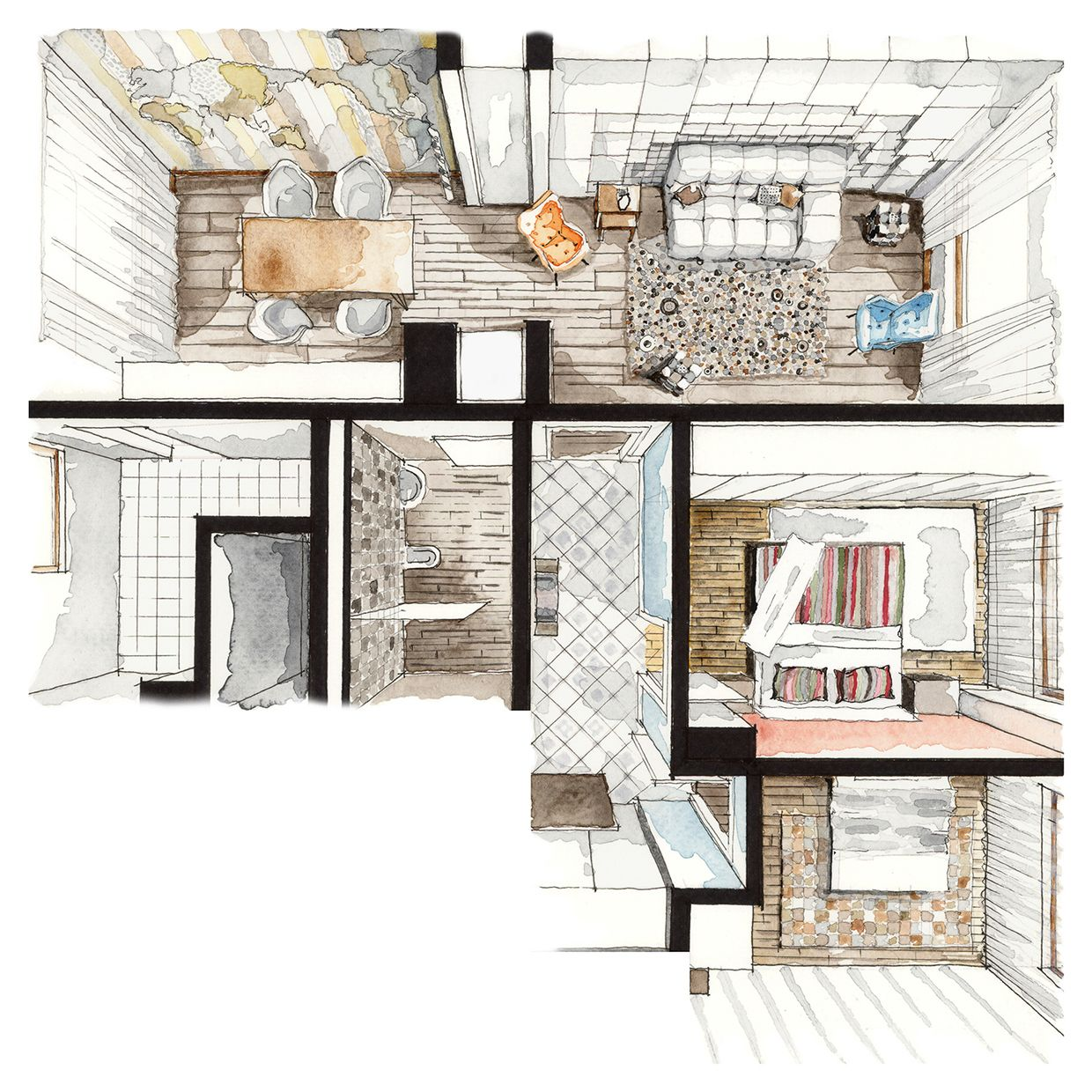 Color Perspectives On Behance Drawings Interior Design