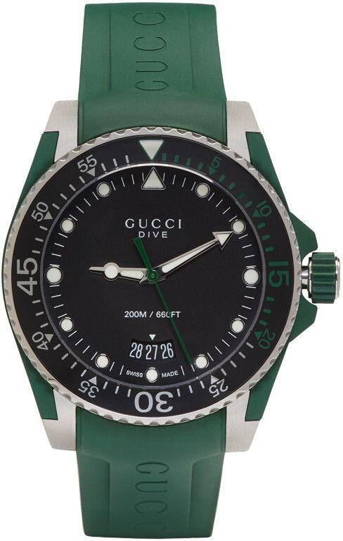902fb762c43 Gucci Green   Silver Dive Watch