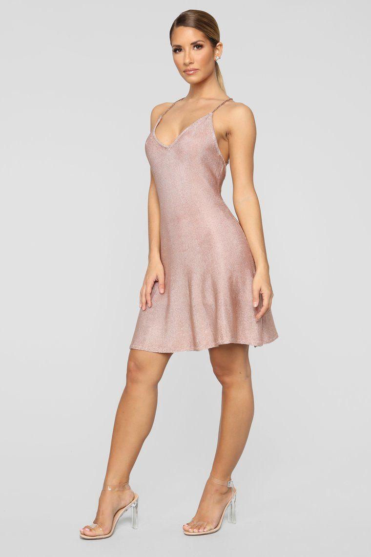419d9e0dc4 Shimmering Splendid Skater Dress - Rose Gold in 2019