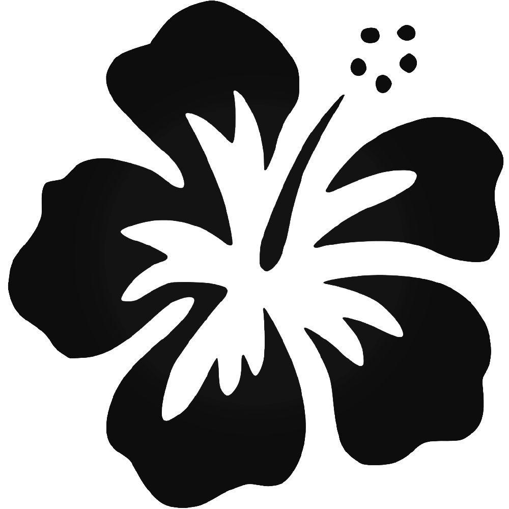 Hawaiian Hibiscus Flower Vinyl Decal Sticker Cartoon Flowers Flower Stencil Flower Drawing