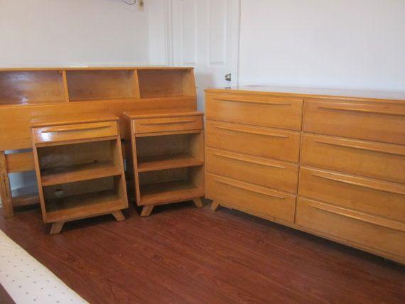 heywood wakefield rio bedroom set vintage atomic wood mid century modern sculptura furniture