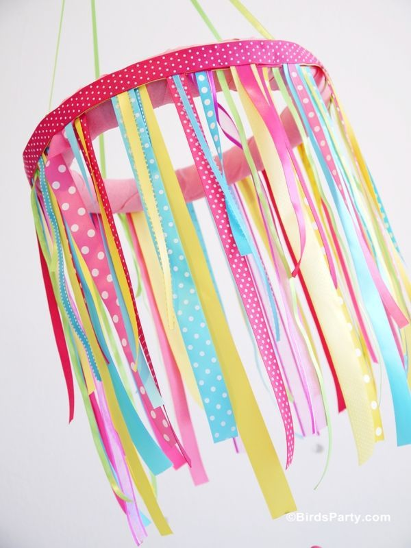 Easter Kids Brunch DIY Party Ideas Ribbon chandelier Diy party
