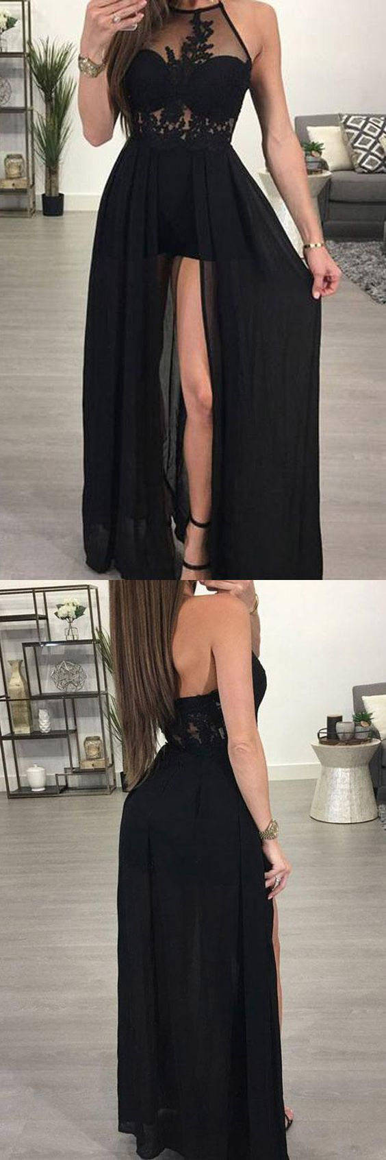Aline halter black chiffon sexy long prom dresses evening dress