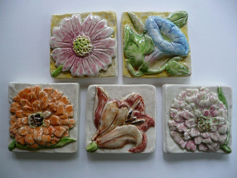 Handmade ceramic tile morning glory flower relief design via handmade ceramic tile morning glory flower relief design via etsy dailygadgetfo Images