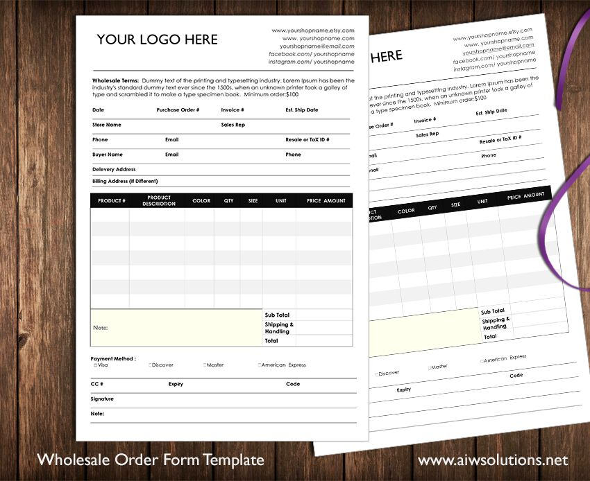 Wholesale Order Form by AIWSOLUTIONS on  creativemarket   Biz ideas     Wholesale Order Form by AIWSOLUTIONS on  creativemarket