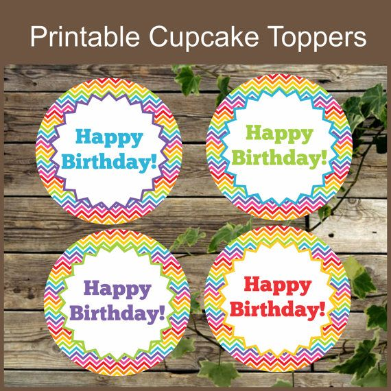 Rainbow Cupcake Toppers, Instant Download, Printable Happy Birthday