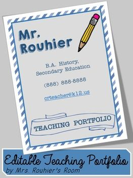 Editable Teaching Portfolio Template Blue Stripes Drew