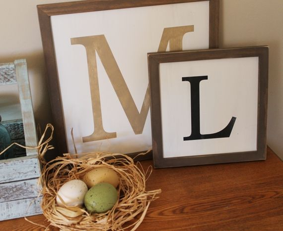 Framed Capital Letter Sign Wedding Gift Idea...Child's Initial...Gallery Wall Decor