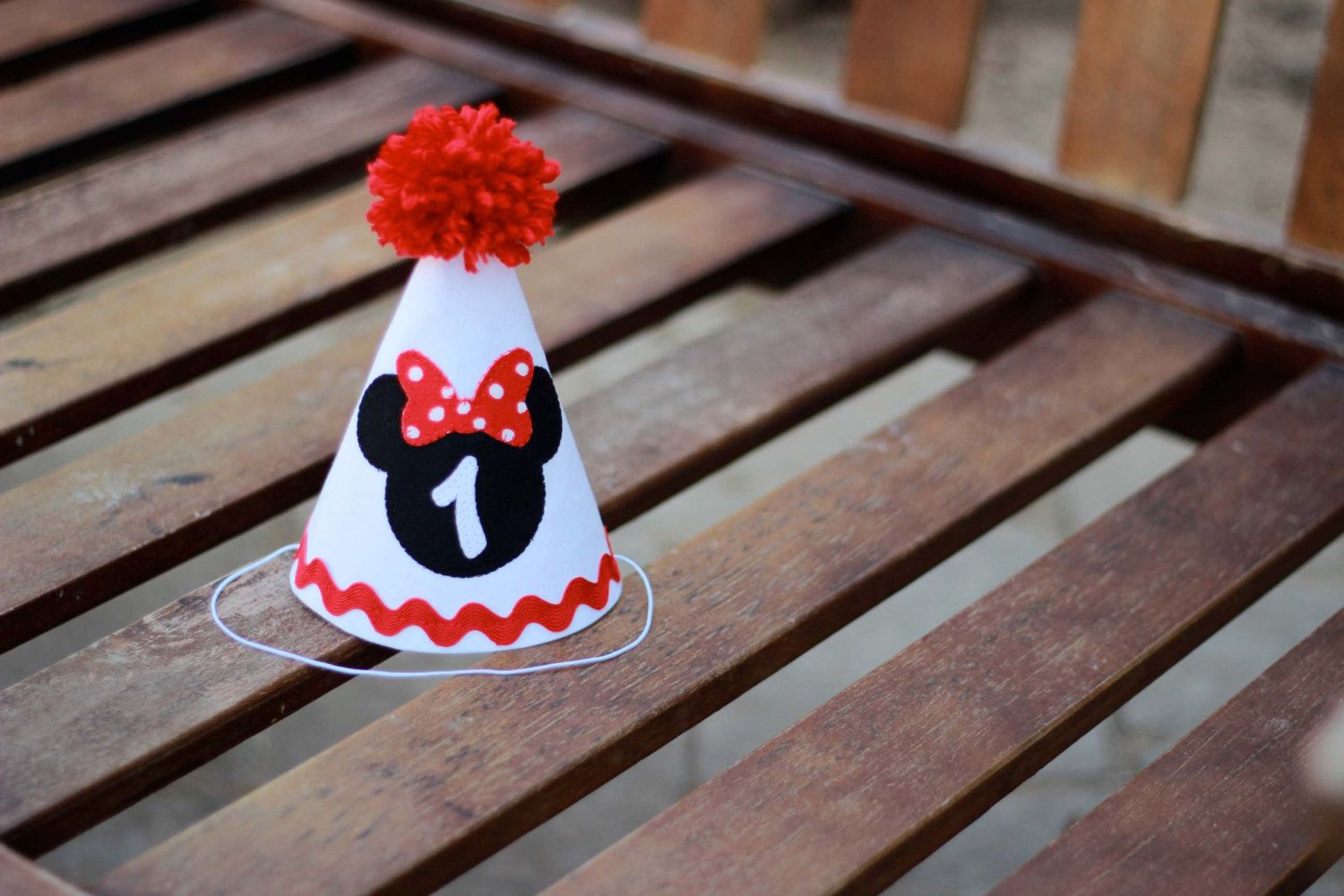 Birthday Hat Minnie Mouse Red White Black First Party 1st Outfit 1450 Via Etsy