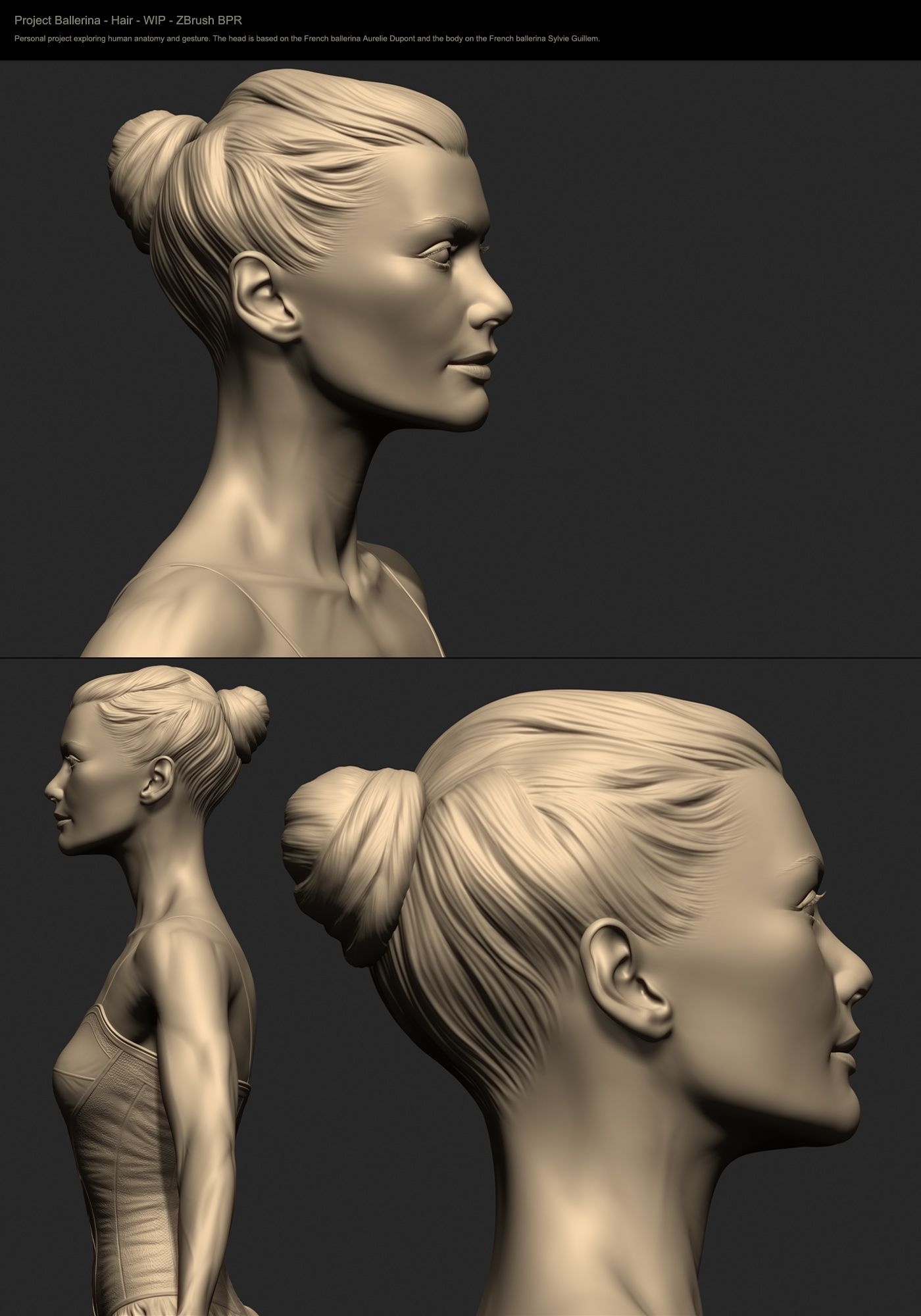 Tians Z Brush work explores human anatomy and gesture in the form of ...