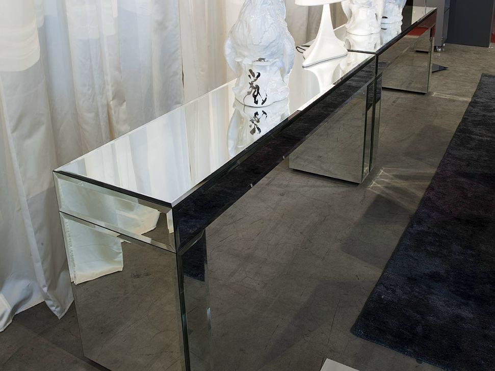 Consolle rettangolare in vetro a specchio aphrodite by for Consolle lago